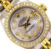 Ladies TwoTone Rolex Datejust Watch with Diamond Bezel