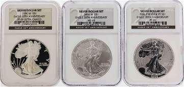 Set of 3 2006W 1 American Silver Eagle Coins NGC
