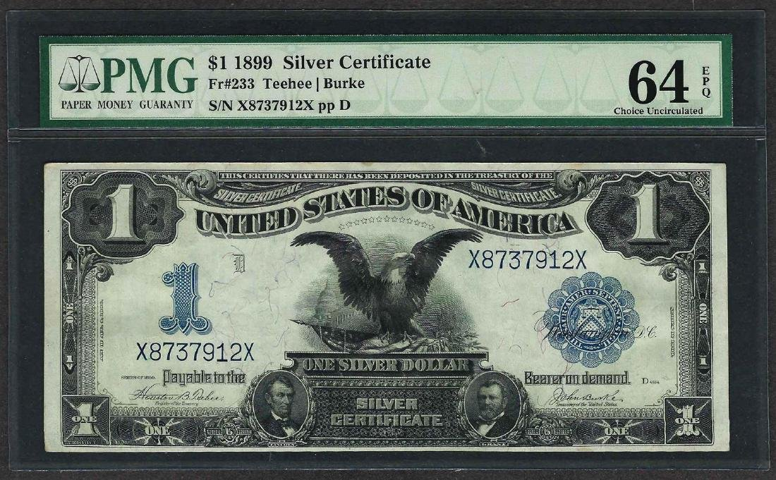 1899 $1 Black Eagle Silver Certificate Note Fr.233 PMG