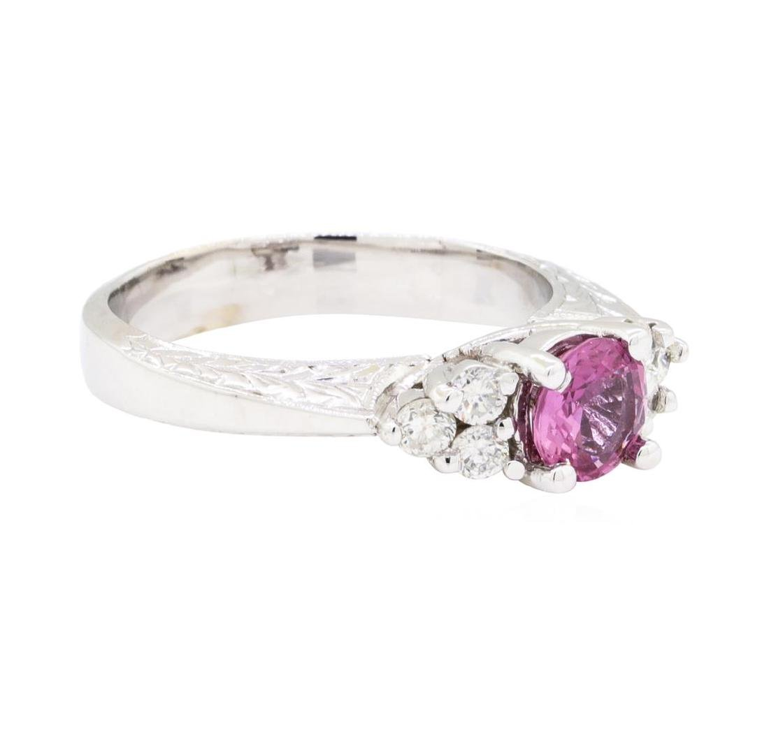 14KT White Gold 0.80 ctw Pink Sapphire and Diamond Ring