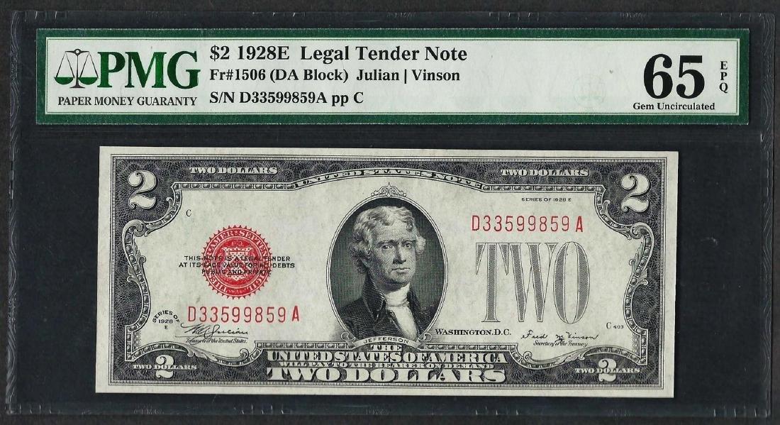 1928E $2 Legal Tender Note Fr.1506 PMG Gem Uncirculated