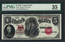 1907 5 Woodchopper Legal Tender Note Fr85 PMG Choice