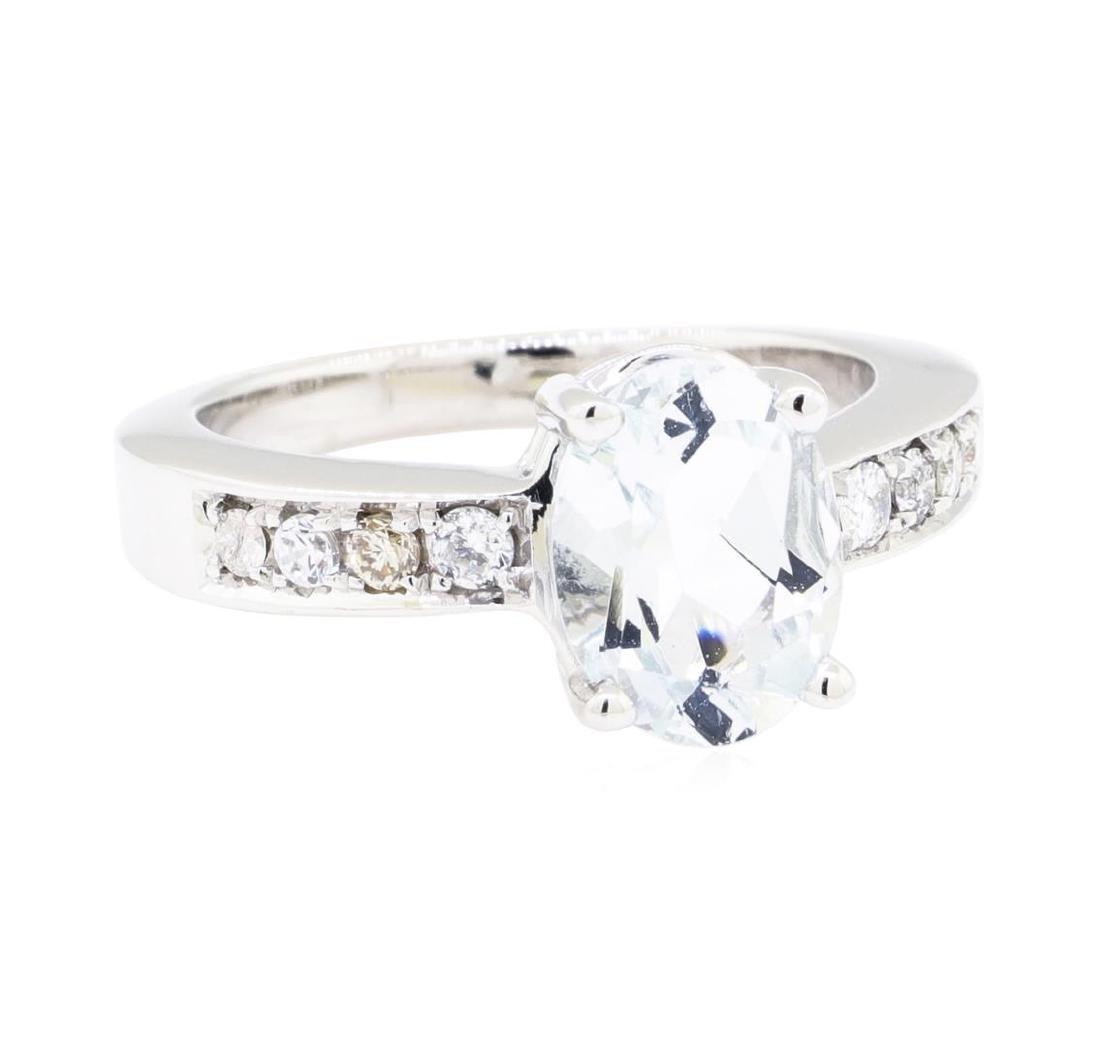 14KT White Gold 1.30 ctw Aquamarine and Diamond Ring