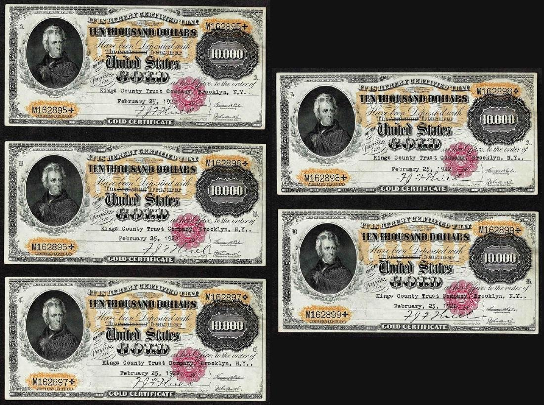 Lot of (5) Consecutive 1900 $10,000 Gold Certificate