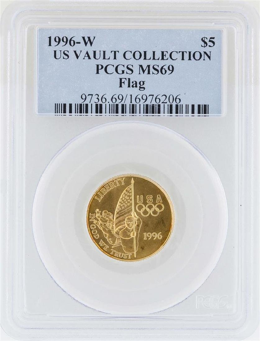 1996-W $5 US Vault Collection Flag Commemorative Gold