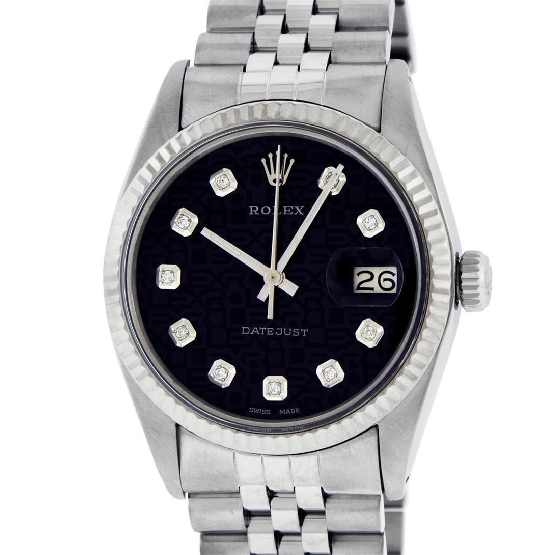 Rolex Mens Stainless Steel Black Diamond Datejust