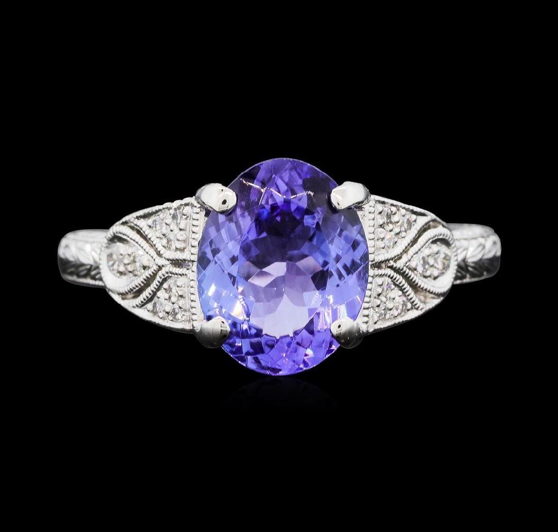 Platinum 2.42 ctw Tanzanite and Diamond Ring