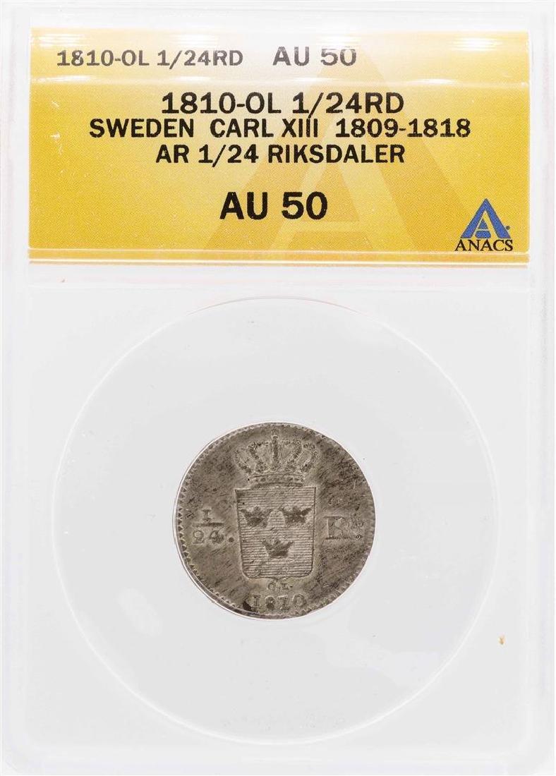 1810-OL Sweden Carl XIII AR 1/24 Riksdaler Coin ANACS