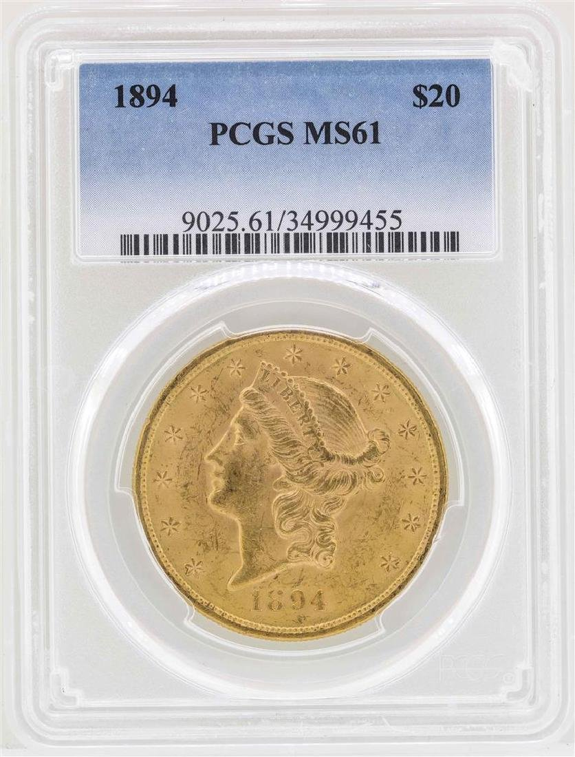 1894 $20 Liberty Head Double Eagle Gold Coin PCGS MS61