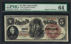 1880 $5 Legal Tender Note Fr.70 PMG Choice Uncirculated