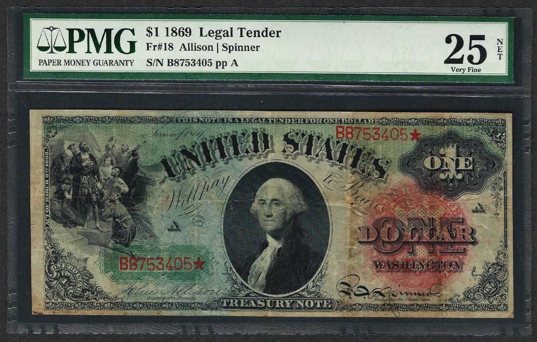 1869 $1 Rainbow Legal Tender Note Fr.18 PMG Very Fine