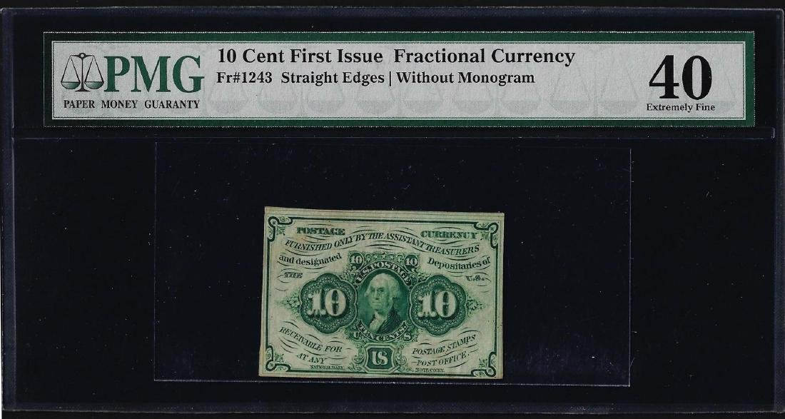 1862 First Issue 10 Cent Fractional Currency Note PMG