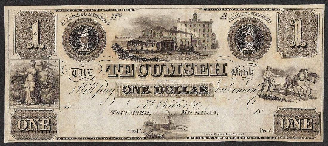 1800's $1 The Tecumseh Bank Obsolete Note