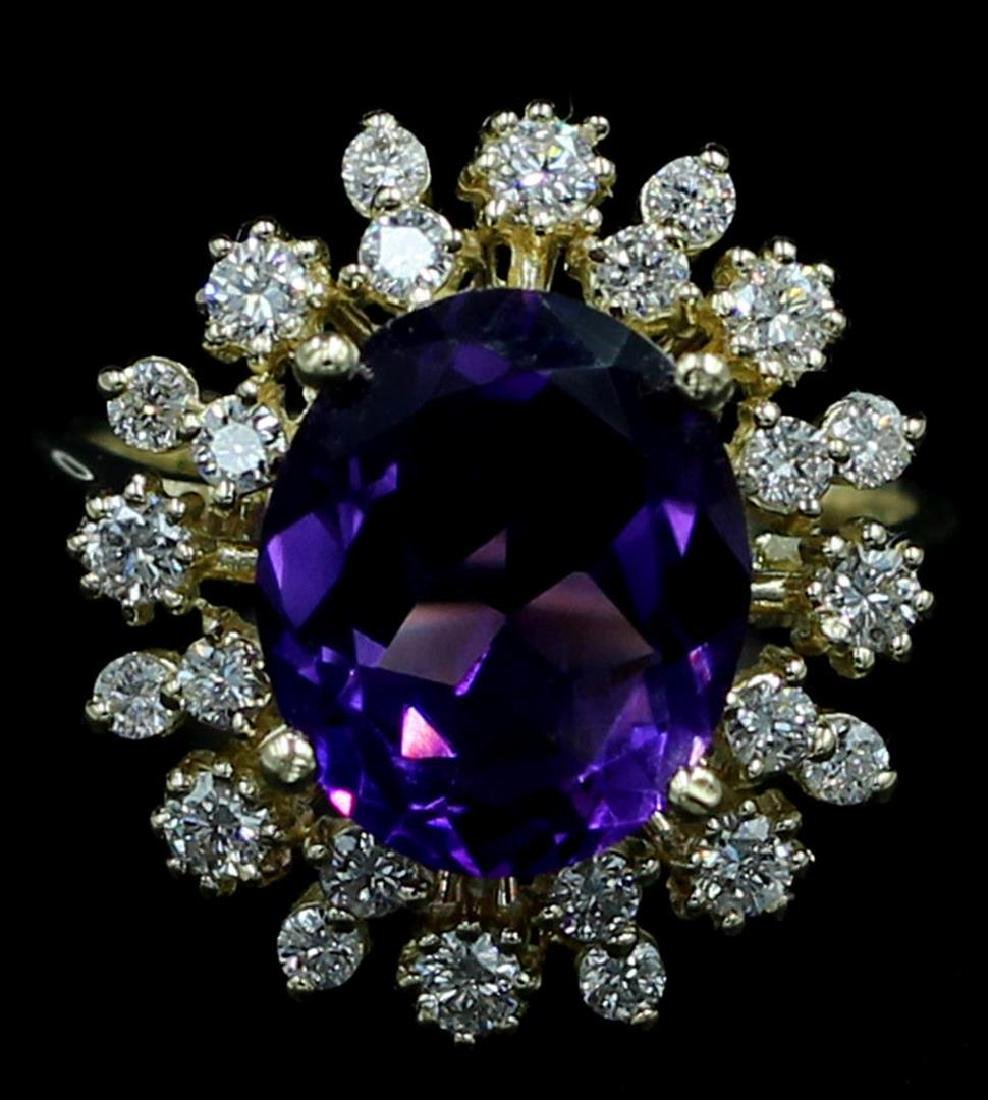 14KT Yellow Gold 4.59 ctw Amethyst and Diamond Ring