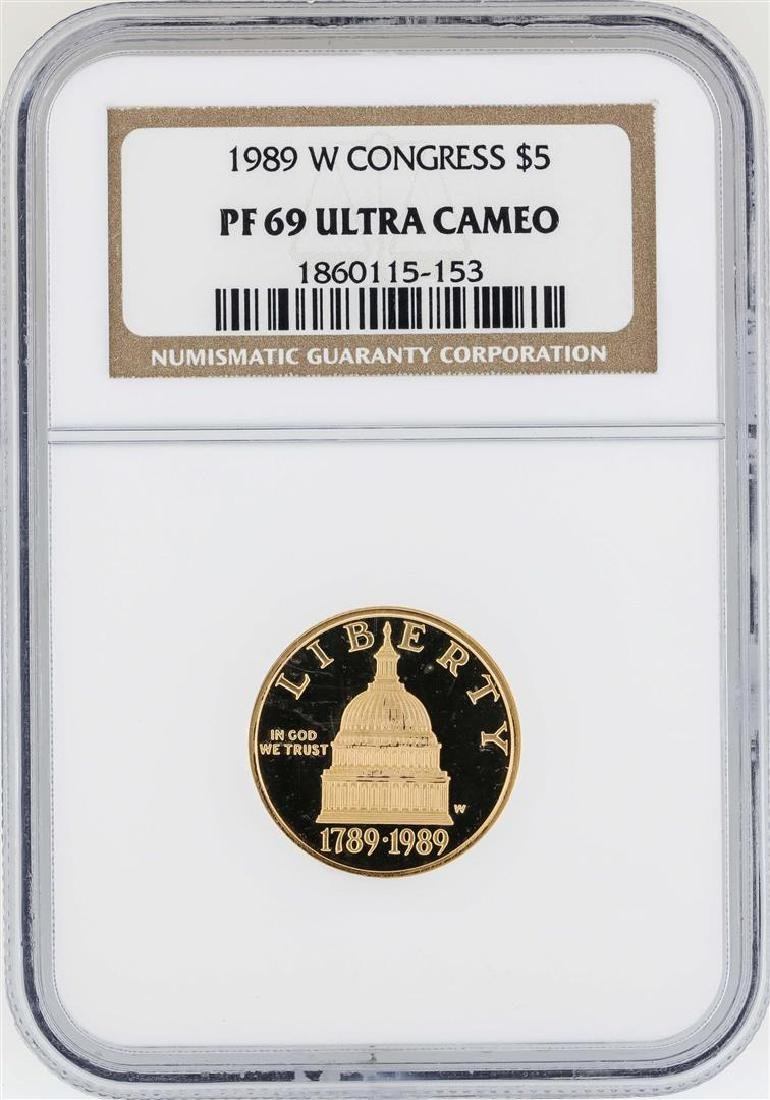1989-W $5 Congress Commemorative Gold Coin NGC PF69
