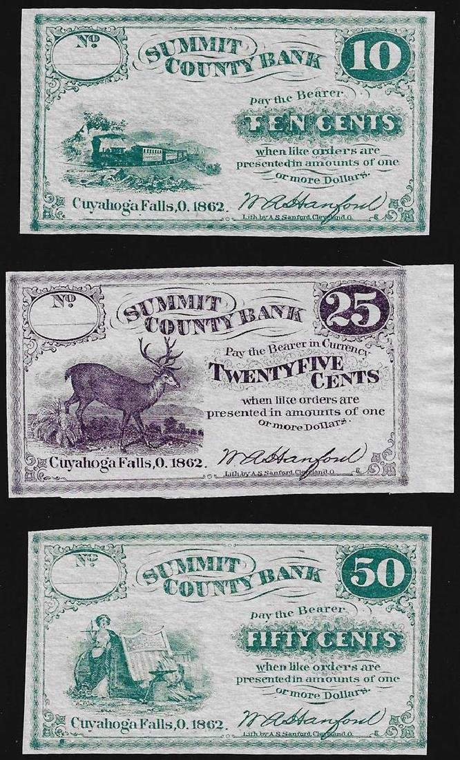 Lot of (3) Summit County Bank Fractional Obsolete Notes