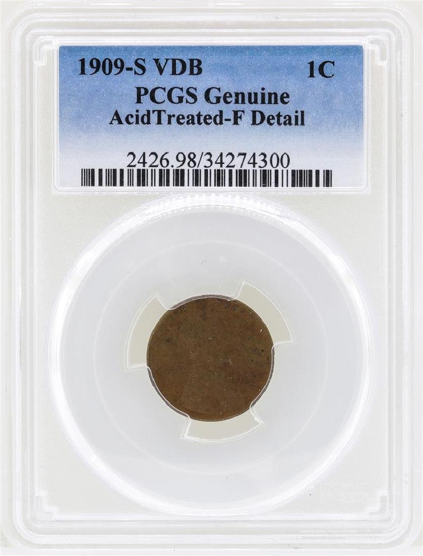 1909-S VDB Lincoln Wheat Penny Coin PCGS Genuine