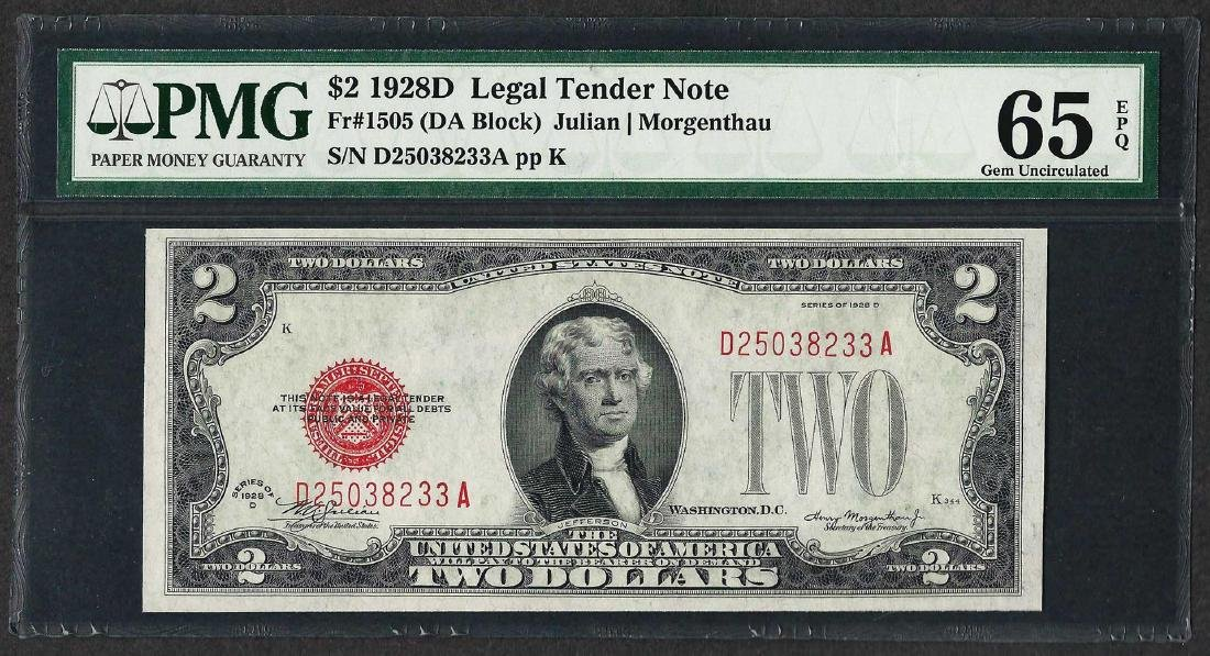 1928D $2 Legal Tender Note Fr.1505 PMG Gem Uncirculated