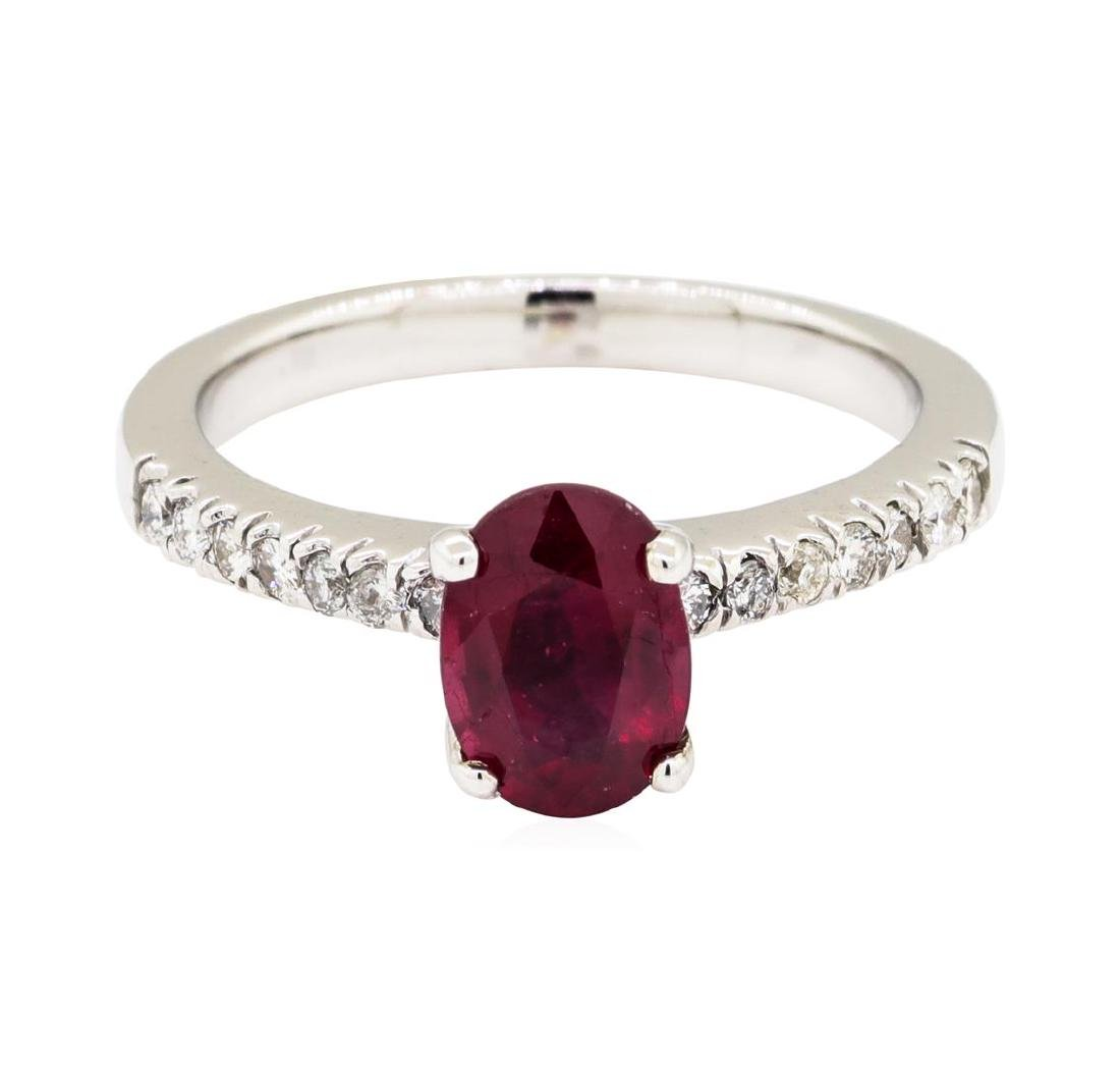14KT White Gold 1.49 ctw Ruby and Diamond Ring - 2