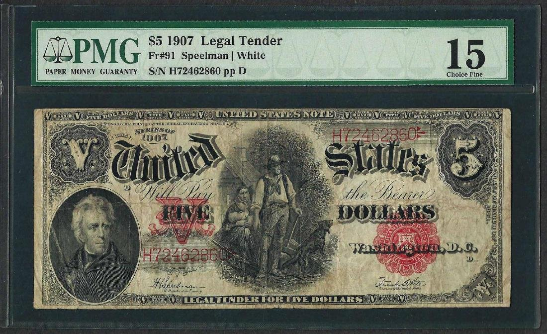 1907 $5 Woodchopper Legal Tender Note Fr.91 PMG Choice