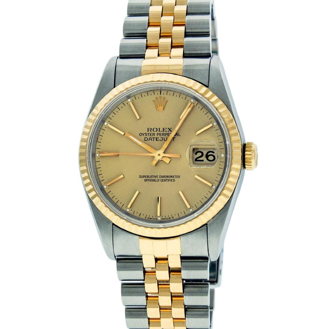 Rolex Mens 36mm Two Tone Yellow Gold Champagne Index