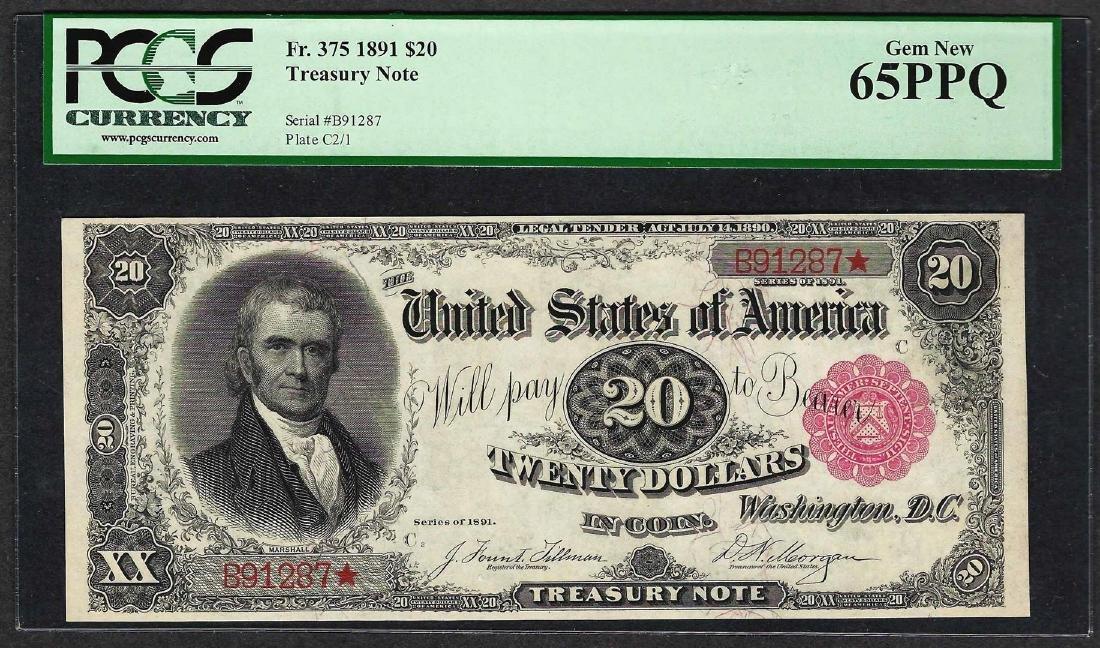 1891 $20 Treasury Note Fr.375 PCGS Gem New 65PPQ