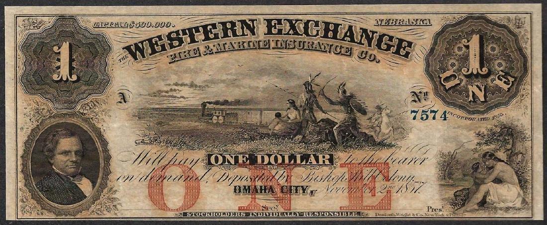 1857 $1 The Western Exchange Obsolete Note