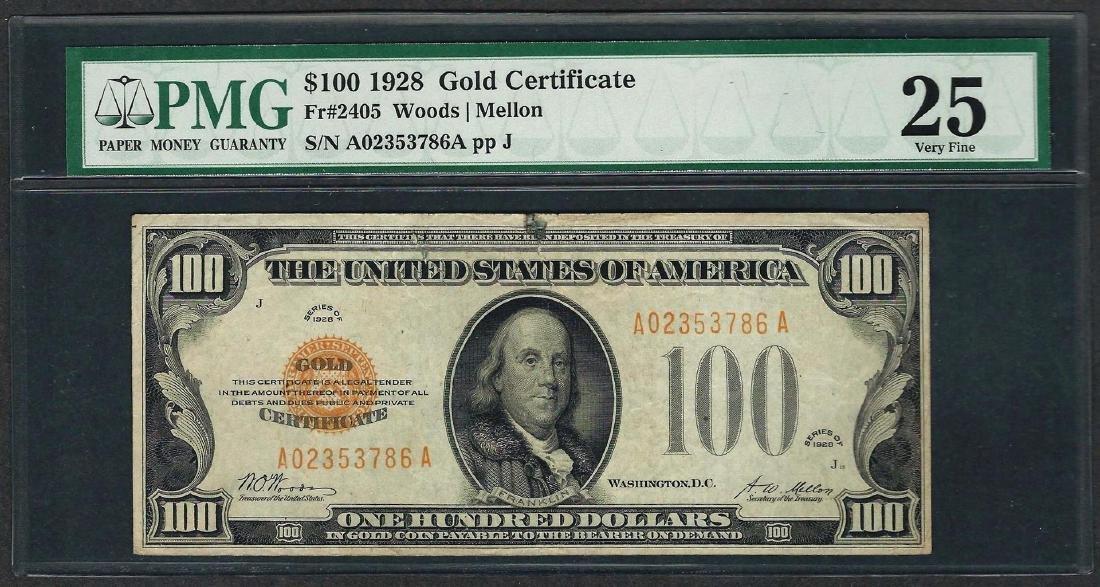 1928 $100 Gold Certificate Note Fr.2405 PMG Very Fine