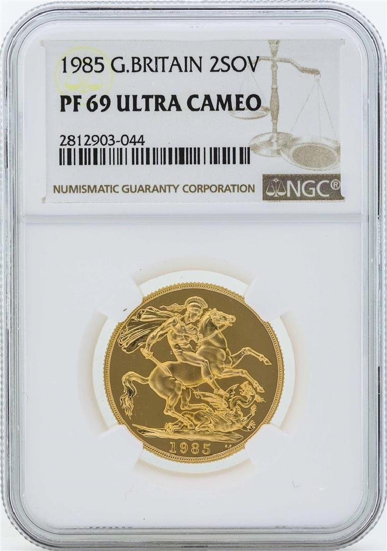 1985 Great Britain 2 Sovereign Gold Coin NGC PF69 Ultra