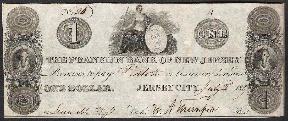 1827 $1 The Franklin Bank of New Jersey Obsolete Note