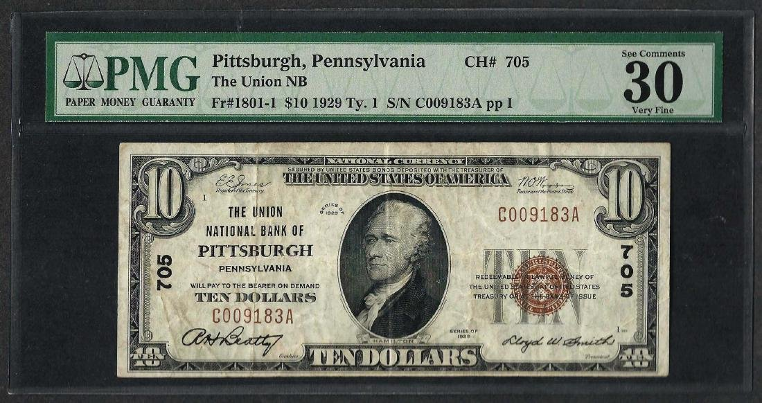 1929 $10 National Currency Note Pittsburgh,