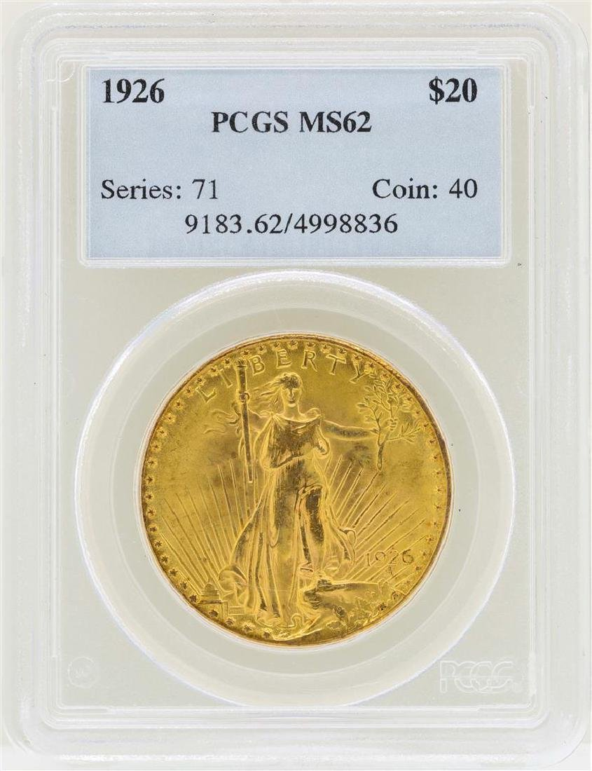1926 $20 St. Gaudens Double Eagle Gold Coin PCGS MS62