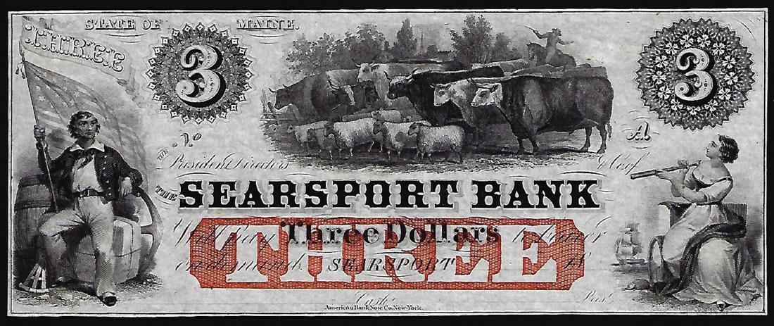 1800's $3 The Searsport Bank Obsolete Note