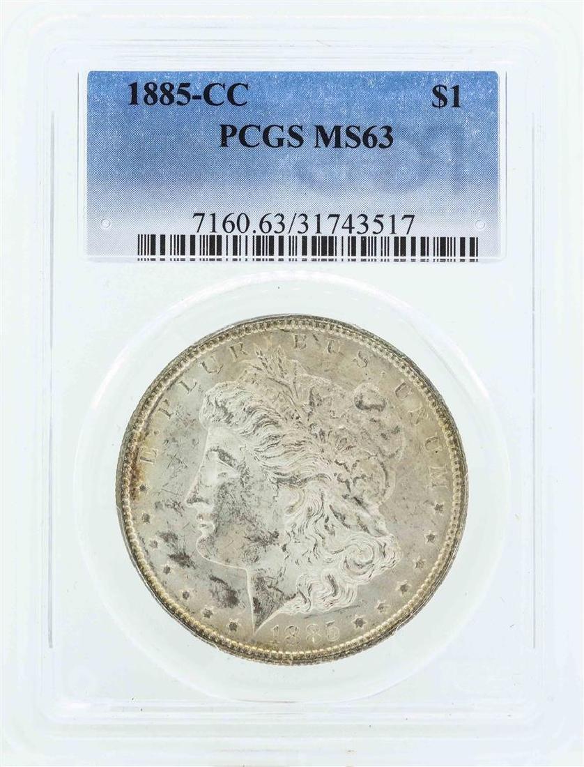 1885-CC $1 Morgan Silver Dollar Coin PCGS MS63