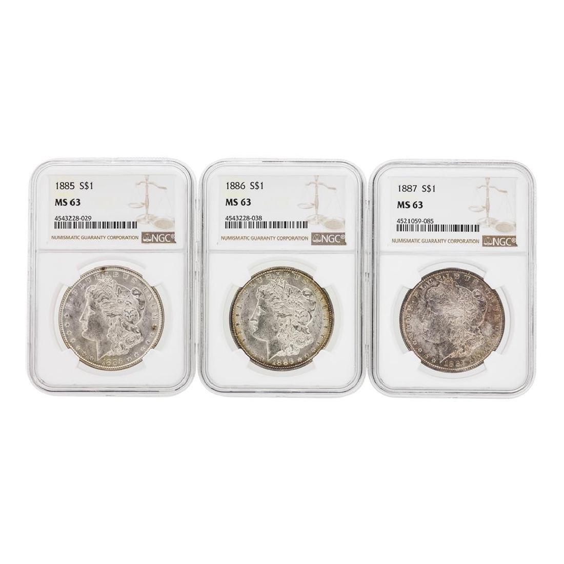 1885-1887 $1 Morgan Silver Dollar Coins NGC MS63