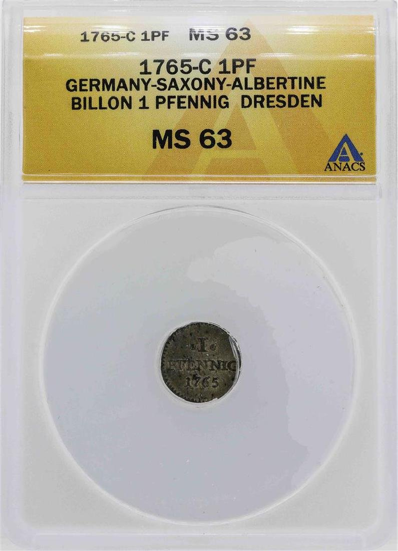 1765-C Germany Pfennig Dresden Coin ANACS MS63