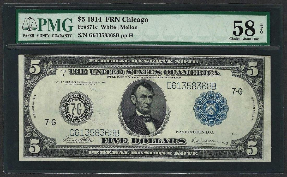 1914 $5 Federal Reserve Note Chicago Fr.871c PMG Choice