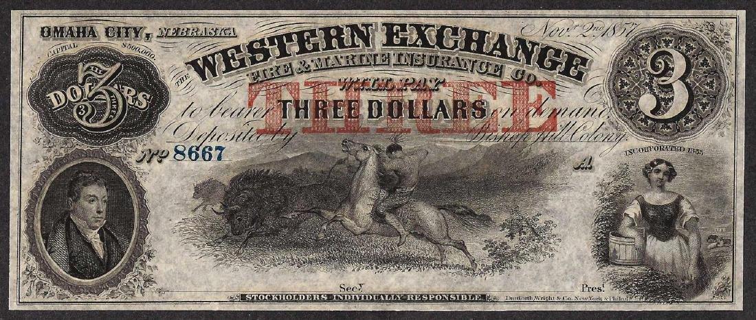 1857 $3 The Western Exchange Nebraska Obsolete Note