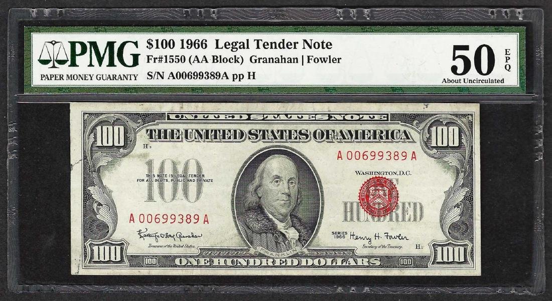 1966 $100 Legal Tender Note Fr.1550 PMG About