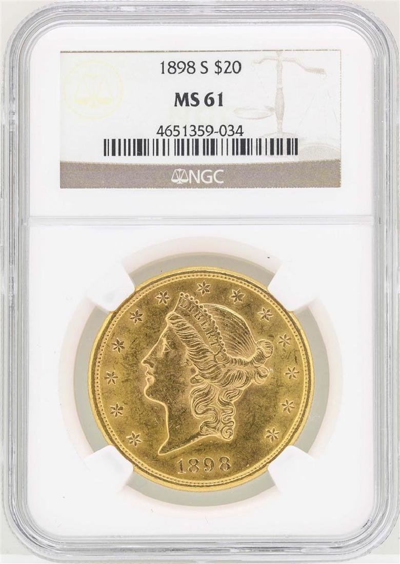 1898-S $20 Liberty Head Double Eagle Gold Coin NGC MS61