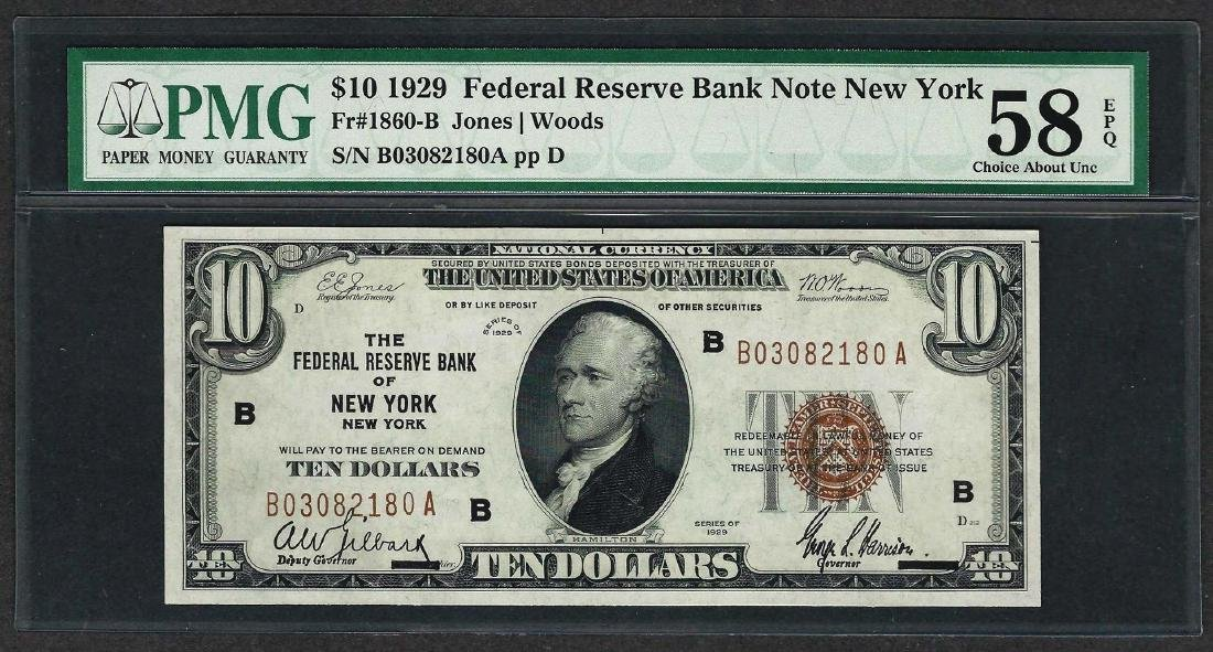 1929 $10 Federal Bank of New York Note Fr.1860-B PMG