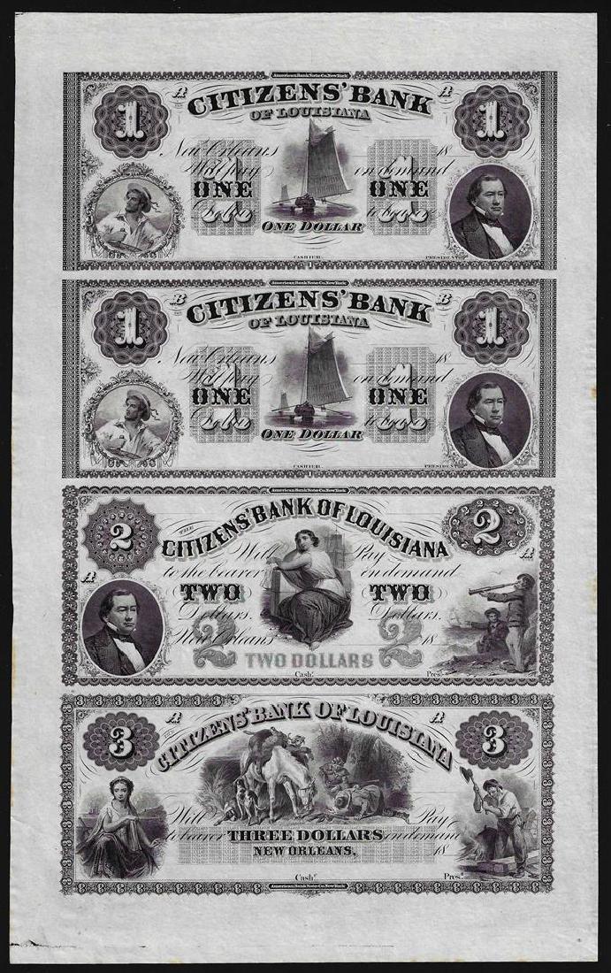 Uncut Sheet of $1/$1/$2/$3 Citizens Bank of Louisiana