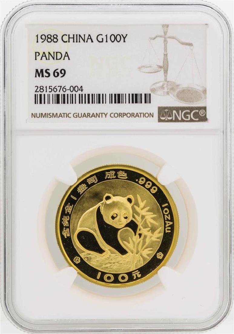 1988 China 100 Yuan Panda Gold Coin NGC MS69