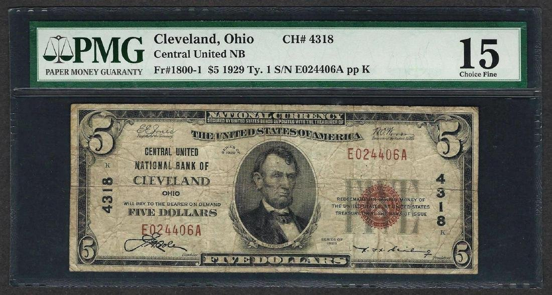 1929 $5 National Currency Note Cleveland, Ohio CH# 4318