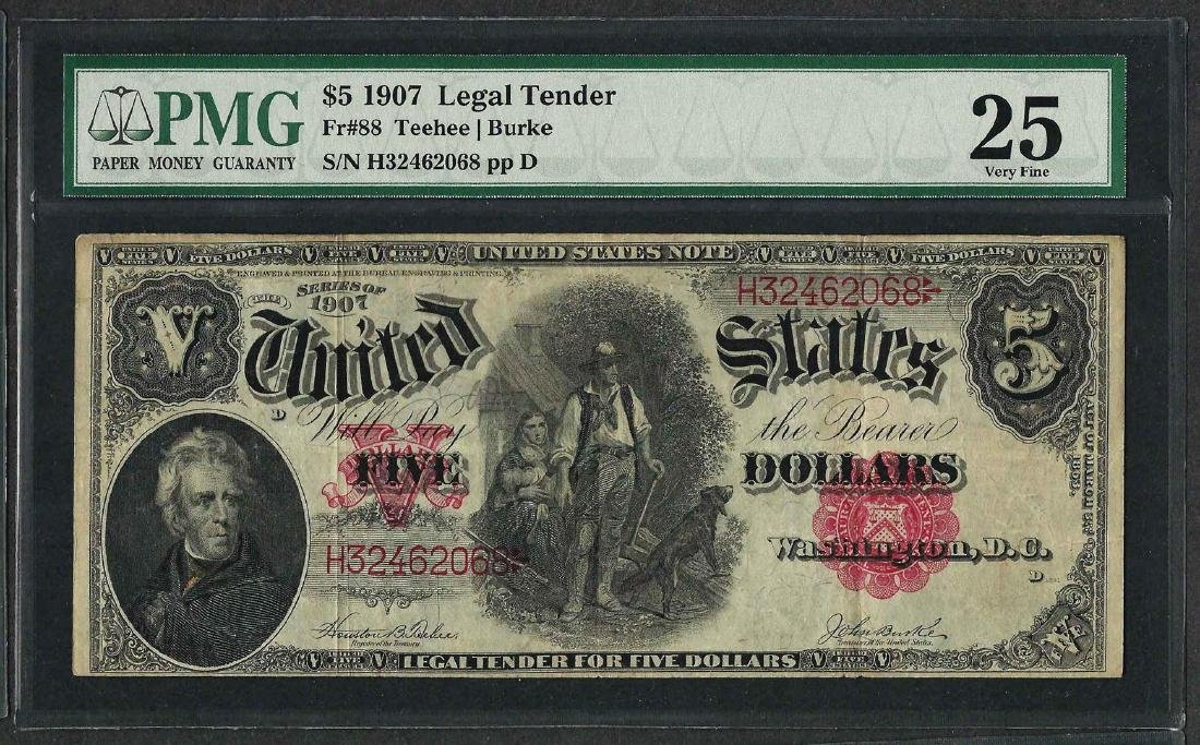 1907 $5 Woodchopper Legal Tender Note Fr.88 PMG Very