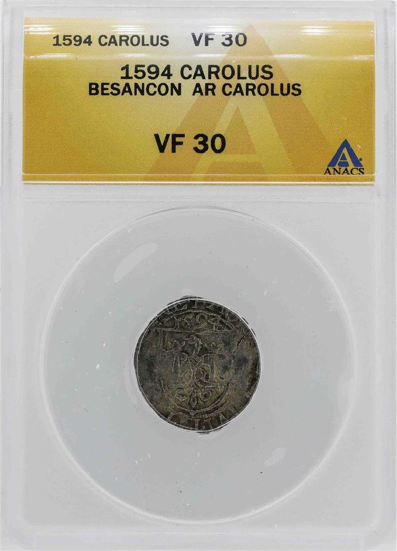 1594 Besancon Carolus Coin ANACS VF30