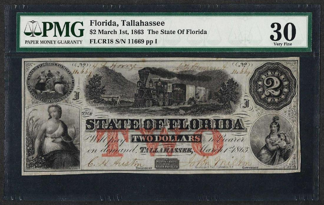 1863 $2 State of Florida Obsolete Currency Note PMG