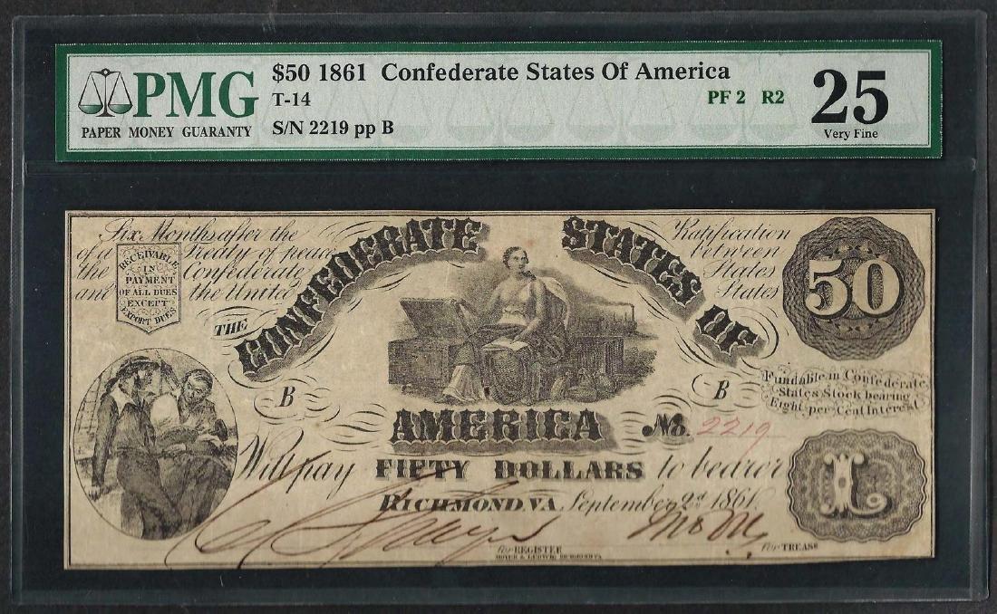 1861 $50 Confederate States of America Note T-14 PMG