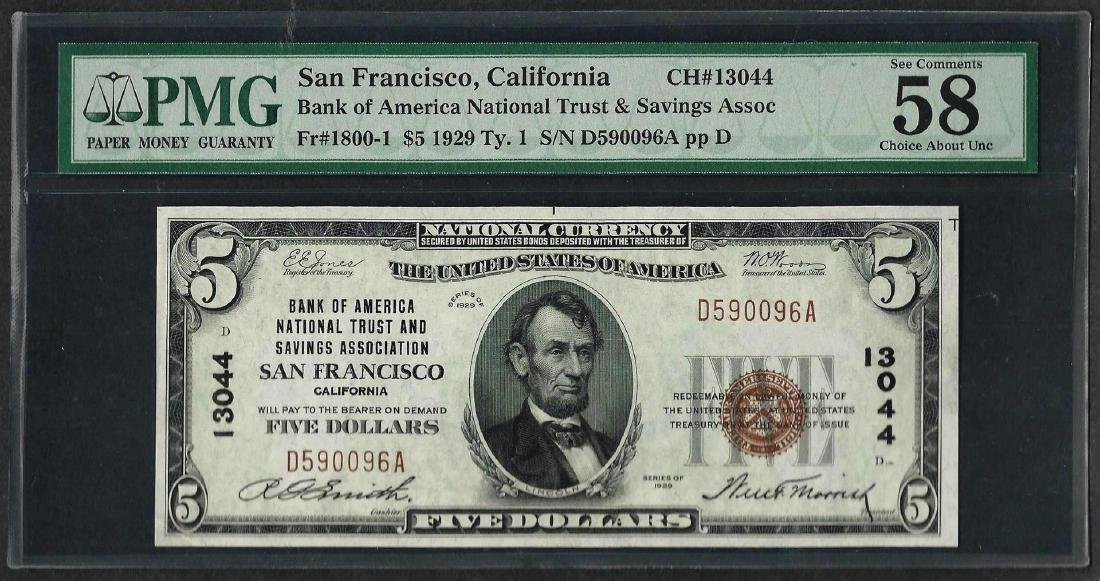 1929 $5 National Currency Note San Francisco, CA CH#