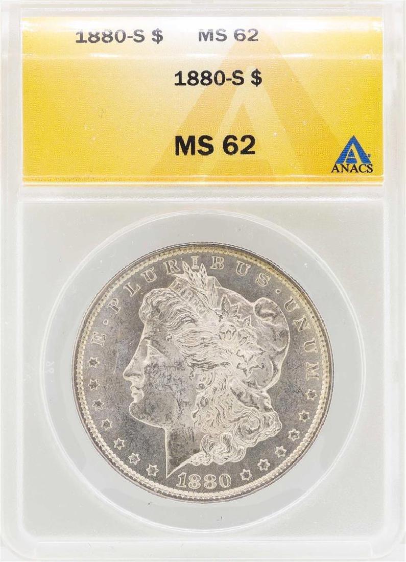 1880-S $1 Morgan Silver Dollar Coin ANACS MS62
